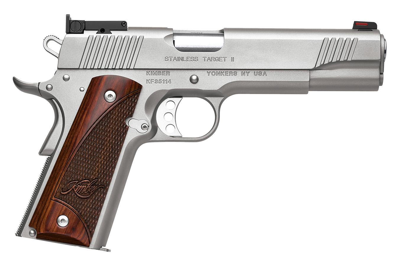 Le modèle « 1911 Stainless Target II » en calibre .45 ACP constitue, grâce à la présence d'une hausse micrométrique, une alternative que nous recommandons aux tireurs sportifs.
