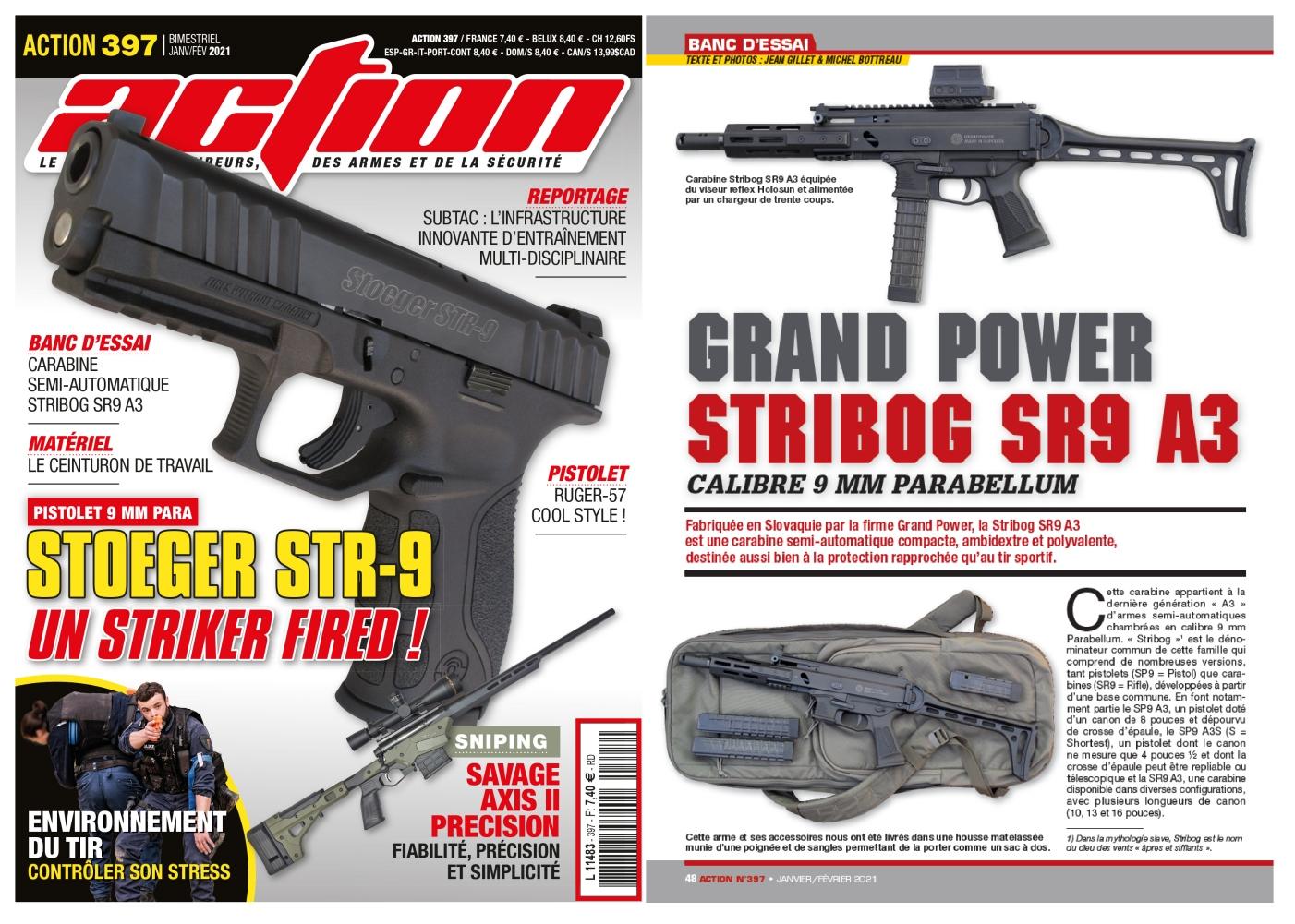 Le banc d'essai de la carabine Grand Power Stribog SR9 A3 a été publié sur 6 pages dans le magazine Action n°397 (janvier/février 2021)