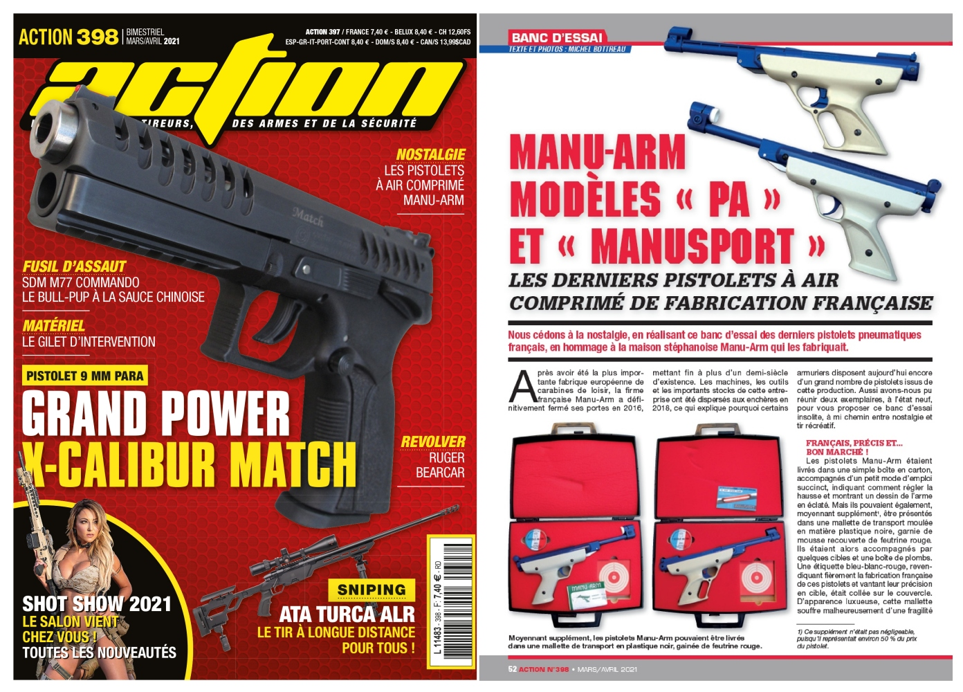 Le banc d'essai du pistolet Grand Power X-Calibur Match a été publié sur 6 pages dans le magazine Action n°398 (mars/avril 2021)