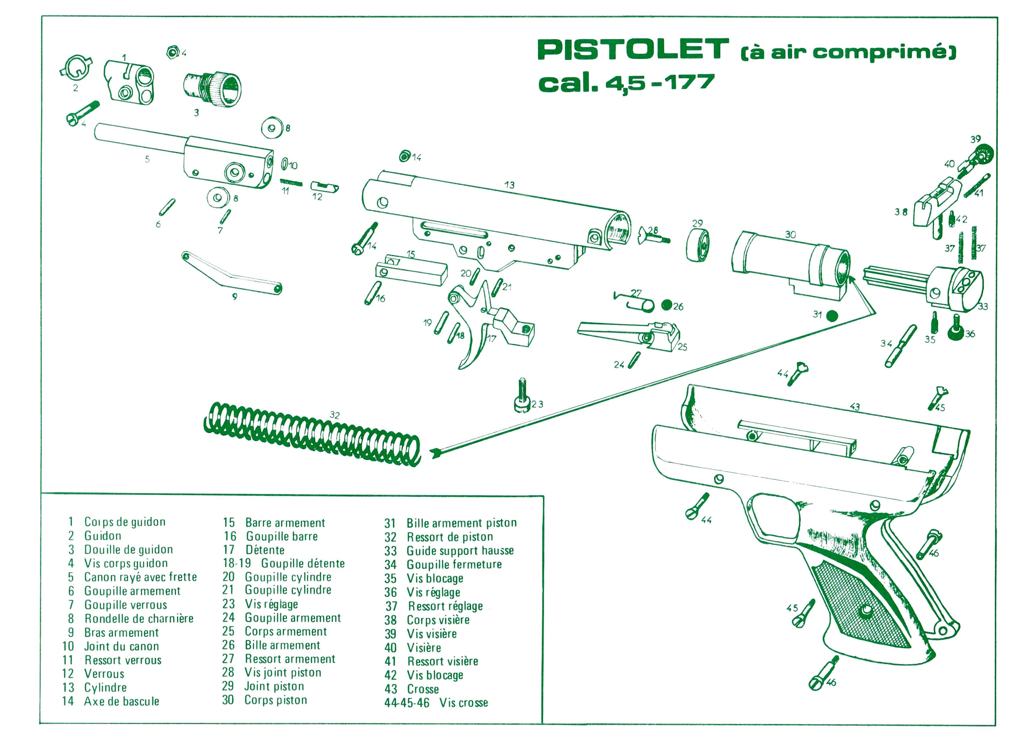 Dessin en éclaté des éléments mécaniques composant le pistolet, tel qu'il figure sur le petit feuillet accompagnant le modèle PA.