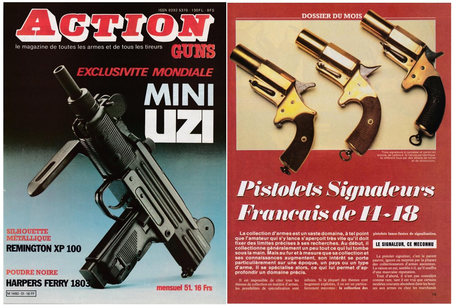 Les pistolets signaleurs français de 14-18 (1ère partie) ont fait l'objet d'une publication sur 5 pages dans le magazine Action Guns N°51 (mars 1983).