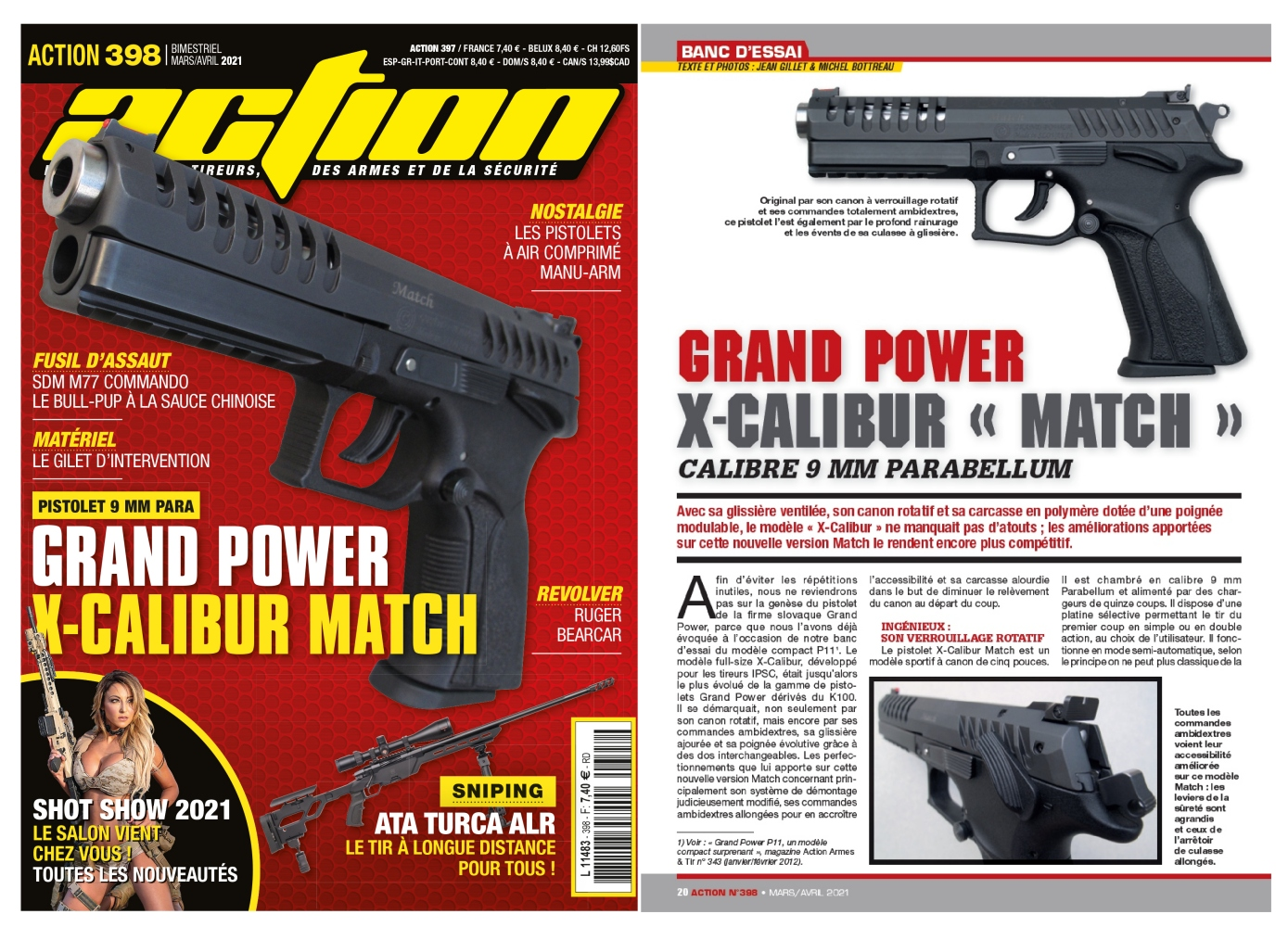 Le banc d'essai du pistolet Grand Power X-Calibur Match a été publié sur 6 pages dans le magazine Action n°398 (mars/avril 2021).