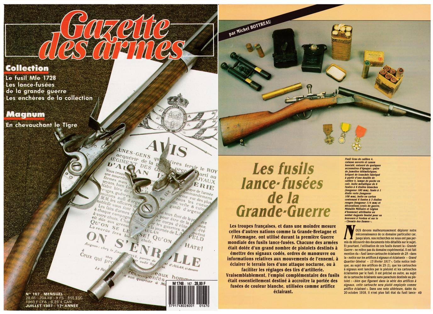 Les fusils lance-fusées de la Première Guerre mondiale ont fait l'objet d'une publication sur 6 pages dans le magazine Gazette des Armes n°167 (juillet 1987).