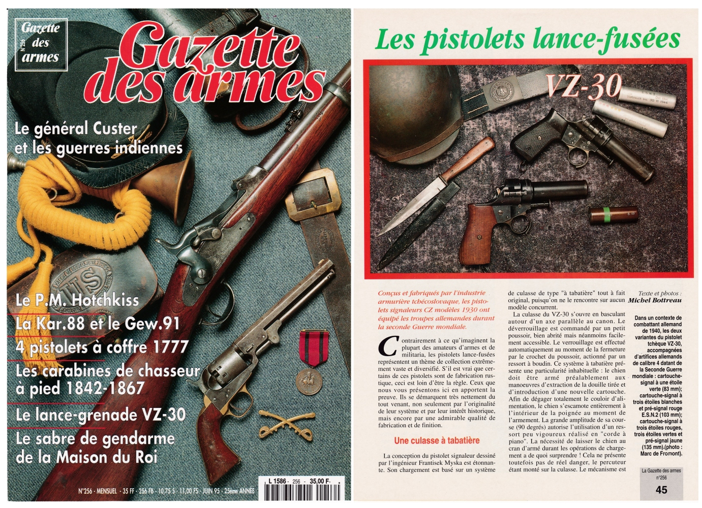 Le pistolet lance-fusées tchèque VZ-30 a fait l'objet d'une publication sur 4 pages dans le magazine Gazette des Armes n°256 (juin 1995).