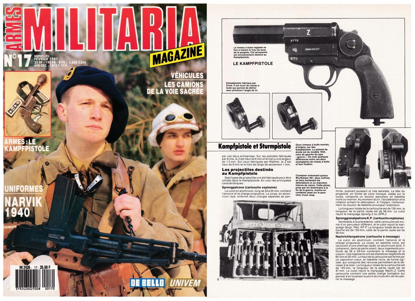 Les pistolets allemands Kampfpistole et Sturmpistole ont fait l'objet d'une publication sur 6 pages dans le magazine Militaria N°17 (février 1987).