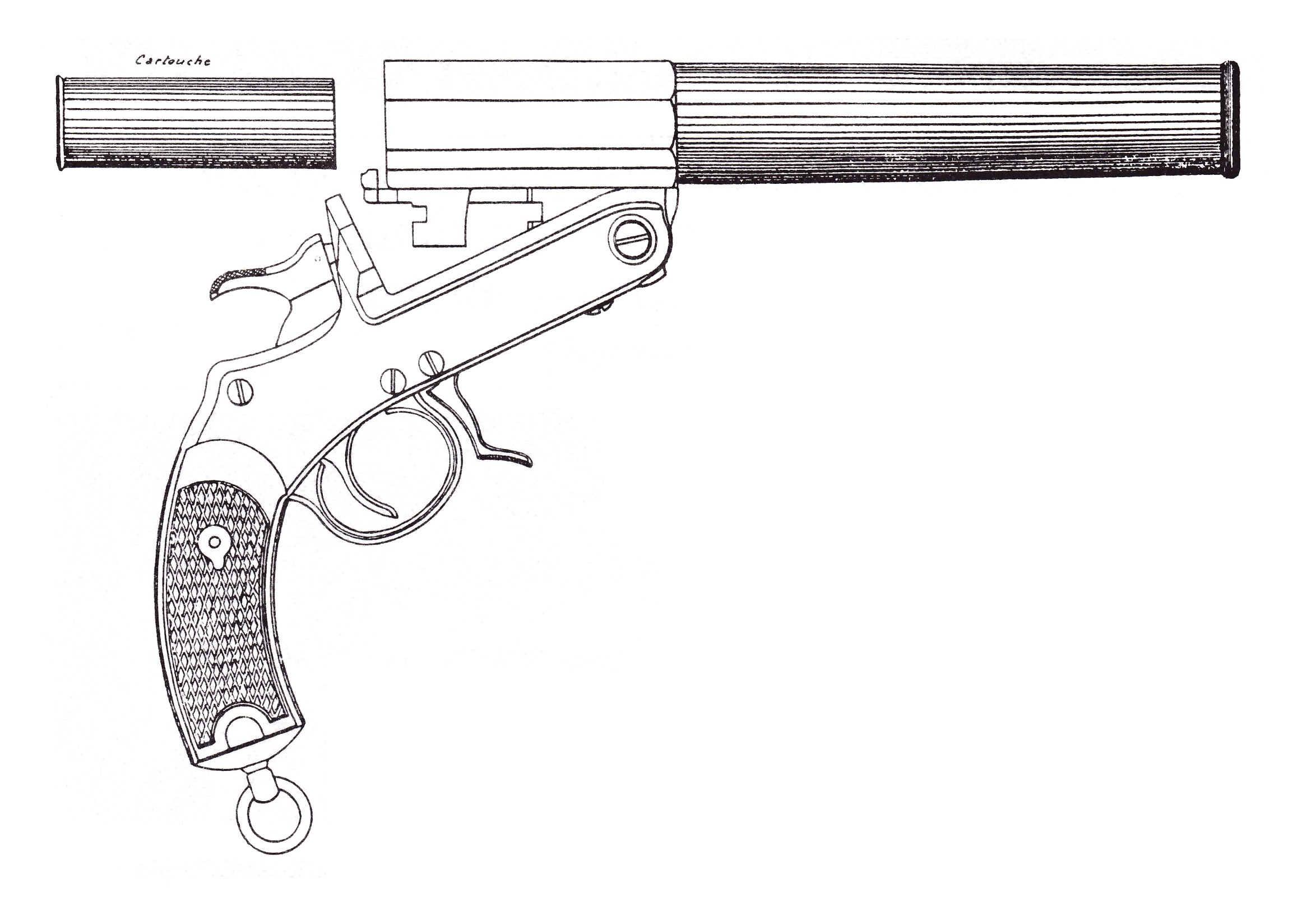 Le très beau pistolet expérimental St-Etienne modèle 1898, construit sur la base de notre revolver réglementaire modèle 1892, n'avait pas réussi à convaincre les militaires de la Commission d'Expérience de 1905.