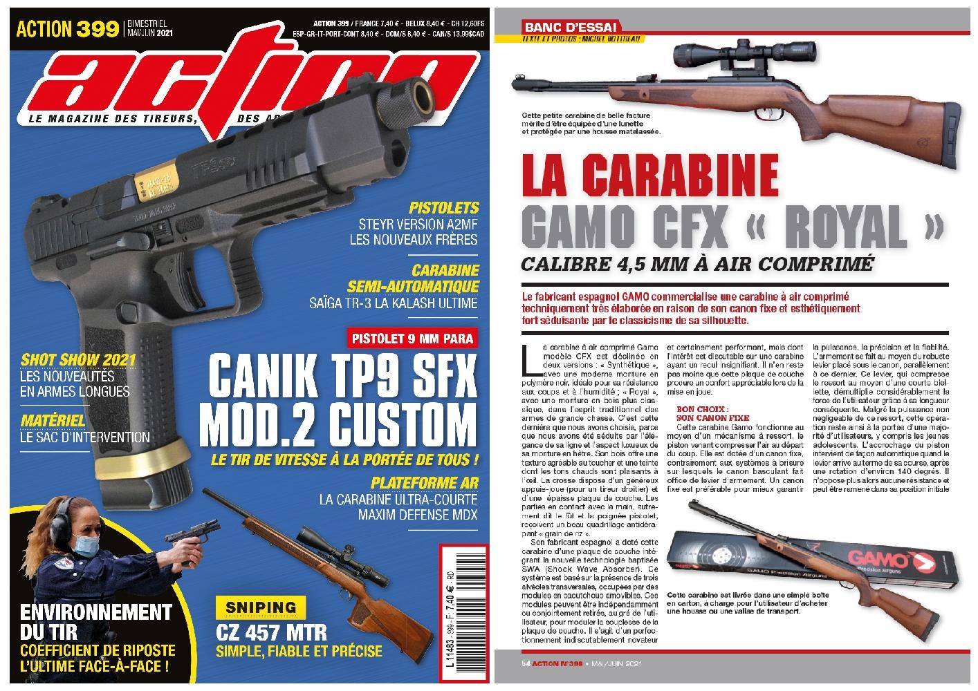 Le banc d'essai de la carabine à air comprimé Gamo CFX Royal a été publié sur 6 pages dans le magazine Action n°399 (mai-juin 2021).
