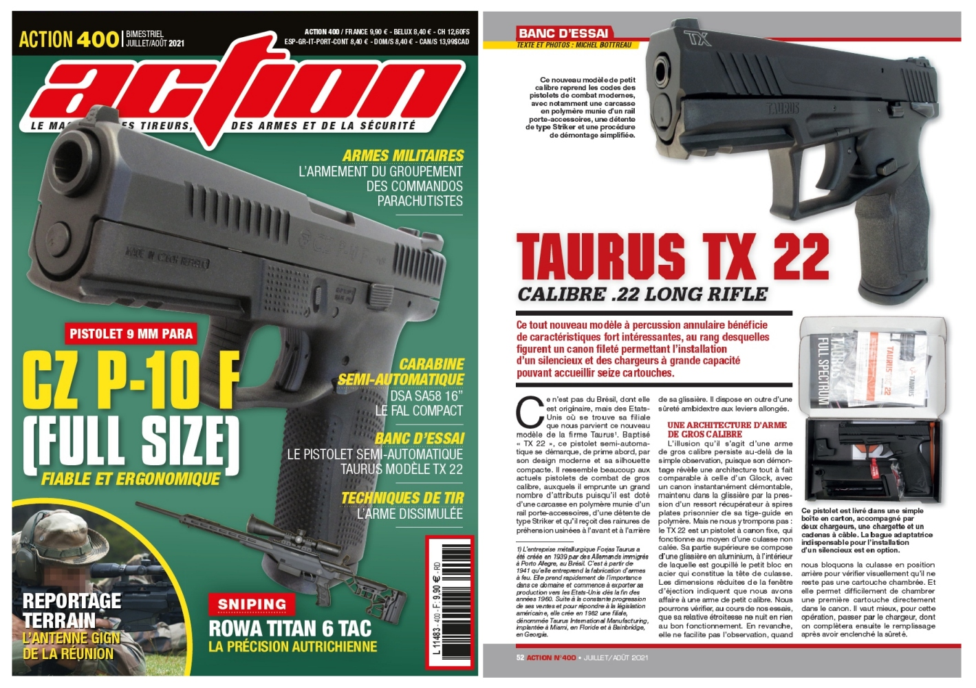 Le banc d'essai du pistolet Taurus TX 22 a été publié sur 6 pages dans le magazine Action n°400 (juillet-août 2021).