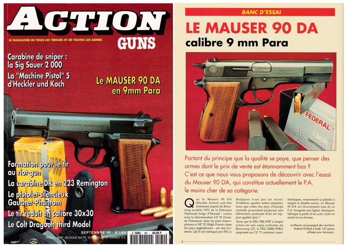 Le banc d'essai du pistolet Mauser 90 DA a été publié sur 6 pages dans le magazine Action Guns n°180 (septembre 1995).