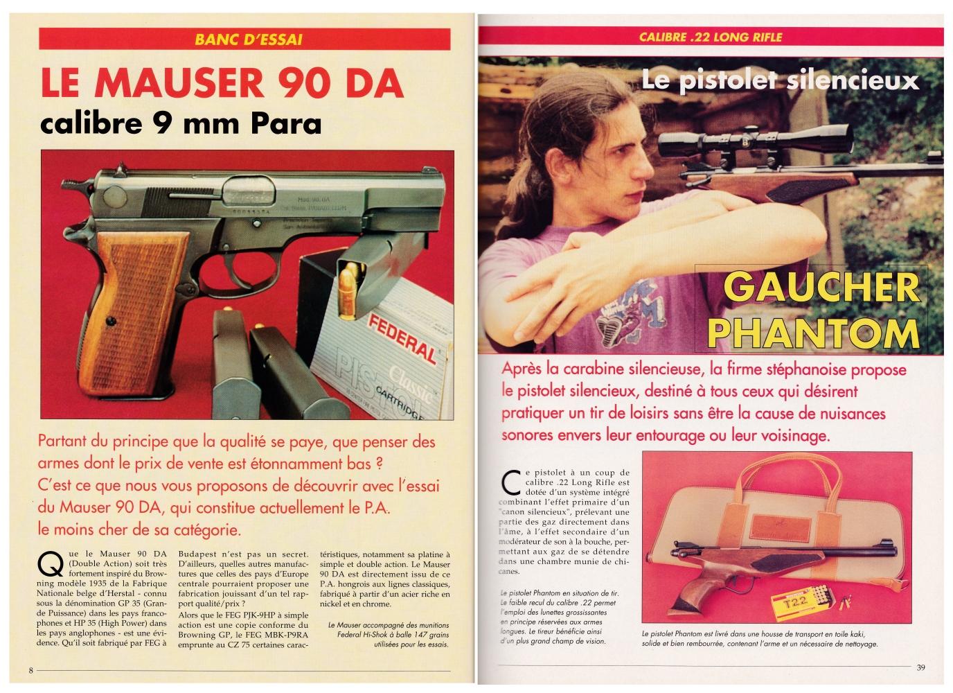 Le banc d'essai du pistolet silencieux Gaucher Phantom a été publié sur 5 pages dans le magazine Action Guns n°180 (septembre 1995).