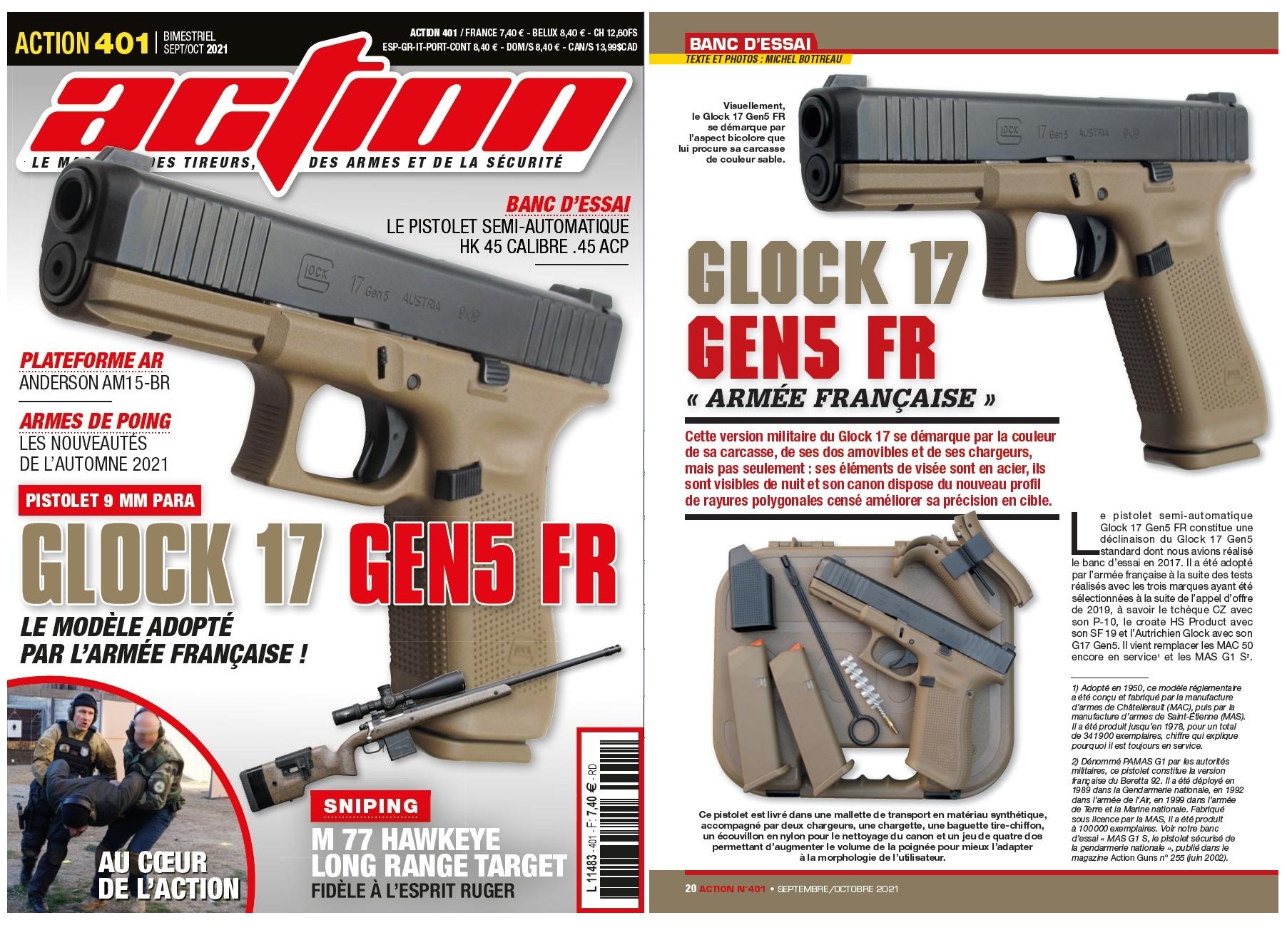 Le banc d'essai du pistolet Glock 17 Gen5 FR a été publié sur 6 pages dans le magazine Action n°401 (septembre/octobre 2021).