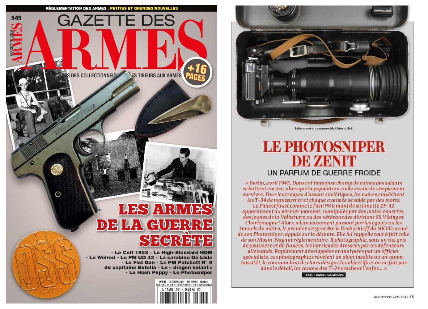 L'article consacré au fusil photographique Photosniper a été publié sur 5 pages dans le magazine Gazette des Armes n°545 (octobre 2021).